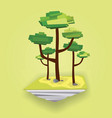 low polygonal geometric flying islands with trees vector image vector image