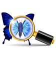 magnifier and butterfly vector image