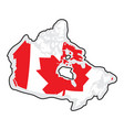 map of canada with its flag vector image