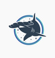 modern hammerhead shark logo vector image vector image