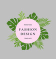 monstera palm tropical leaves fashion design card vector image