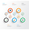 multimedia flat icons set collection of ear muffs vector image