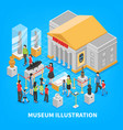 museum isometric composition vector image vector image