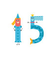 number fifteen cartoon character for teaching vector image vector image