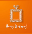 orange background with a gift box vector image vector image