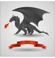 origami black dragon - symbol of 2012 year vector image