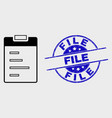outline text pad icon and grunge file stamp vector image vector image