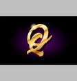 q alphabet letter golden 3d logo icon design vector image vector image