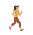 running jogging woman in casual cloth isolated vector image