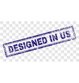 scratched designed in us rectangle stamp vector image vector image