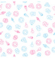 seamless pattern of sweets dessert on white vector image vector image
