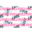 seamless pattern with hand written lettering love vector image vector image