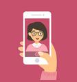 selfie woman pink smartphone vector image vector image