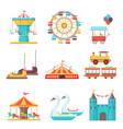 set amusement park elements on white background vector image vector image