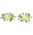 set of autumn bouquets with yellow dahlias fern vector image