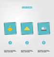 set of finance icons flat style symbols with gold vector image