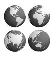 set of four planet earth globes with light grey vector image