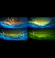 set of geometric neon tree backgrounds vector image