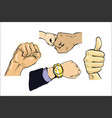 set of hand gestures thumb isolated comic book pop vector image