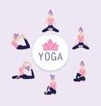 set woman practice yoga balance vector image