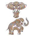 silhouette of coloring african elephant vector image vector image