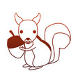 squirrel wild animal on red lines vector image vector image