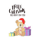 teddy with christmas hat and gift box vector image vector image