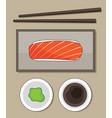 top view salmon sushi wasabi and sauce j vector image vector image