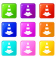 traffic cone icons 9 set vector image vector image