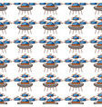 ufo flying with clouds pattern background vector image