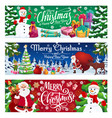 winter holiday snowman and santa with gifts vector image vector image