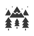 winter landscape mountain pine tree and snow vector image vector image