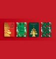 year gold scandinavian pine tree set vector image vector image