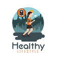 young man running technology healthy lifestyle vector image vector image