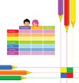 school equipment with kids vector image