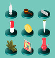 drugs flat isometric icons vector image