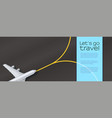aircraft on airport runway top view airplane vector image vector image