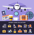 airport icons collection vector image vector image