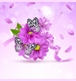 background with lilac flowers and butterflies vector image vector image