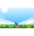 Blooming flowers under the clear blue sky vector image vector image