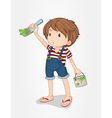 Boy painting vector image vector image