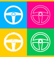 car driver sign four styles of icon on four color vector image