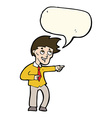 cartoon funny office man pointing with speech vector image vector image