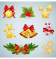 christmas realistic festive set vector image