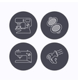 Coffee maker sewing machine and hairdryer icons vector image vector image