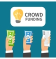 Crowdfunding process Investing to startup vector image vector image