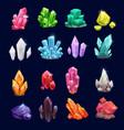 crystal gems gemstone icons vector image