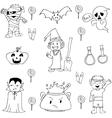 Elemenet costume halloween in doodle vector image vector image