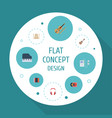flat icons acoustic harmonica fiddle and other vector image vector image