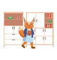 funny cartoon animal student a squirrel vector image vector image